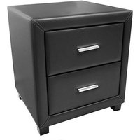 Product photograph showing Dorset Faux Leather Bedside Cabinet In Black With 2 Drawers