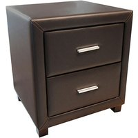Product photograph showing Dorset Faux Leather Bedside Cabinet In Brown With 2 Drawers