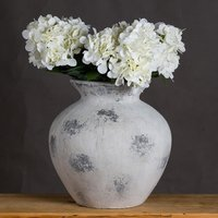 Product photograph showing Downey Ceramic Decorative Vase In Antique White