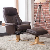 Product photograph showing Dox Plush Swivel Recliner Chair And Footstool In Brown