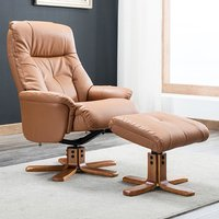 Product photograph showing Dox Plush Swivel Recliner Chair And Footstool In Tan