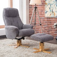 Product photograph showing Dox Fabric Swivel Recliner Chair In Lisbon Grey