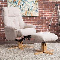 Product photograph showing Dox Fabric Swivel Recliner Chair In Lisbon Wheat