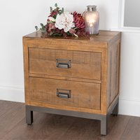 Drafint Wooden Bedside Cabinet In Pine With 2 Drawers