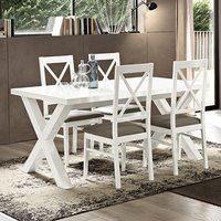 Drent Wooden Dining Table In White With 4 Chairs