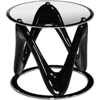 Product photograph showing Drift Glass Round End Table In Black High Gloss And Chrome Base