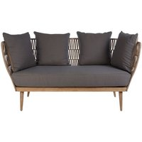 Product photograph showing Druid Wooden Three Seater Sofa With Grey Upholstered Seat