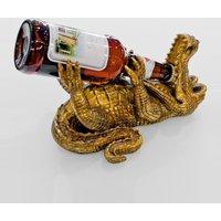 Drunken Crocodile Beer Bottle Holder In Gold