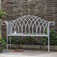 Product photograph showing Duchmano Outdoor Metal Estate Bench In Silver