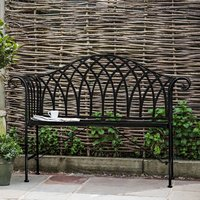 Product photograph showing Duchmano Outdoor Metal Noir Bench In Black