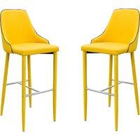 Duncan Yellow Fabric Bar Stool In Pair