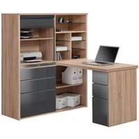 Product photograph showing Dundas Computer Desk In Sonoma Oak And Grey High Gloss