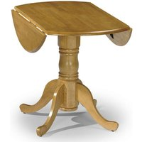 Product photograph showing Dundee Drop-leaf Round Dining Table In Lacquered Honey