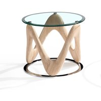 Product photograph showing Dunic Round Glass End Table In Sonoma Oak And Chrome Base