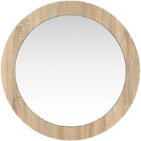 Product photograph showing Dunic Round Wall Bedroom Mirror In Sonoma Oak Frame