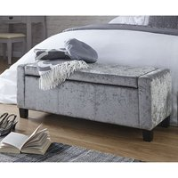 Product photograph showing Dunston Crushed Velvet Ottoman Storage Blanket Box In Grey