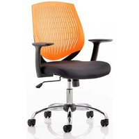 Product photograph showing Dura Task Office Chair In Orange With Arms