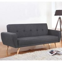 Durham Fabric Sofa Bed Large In Grey With Wooden Legs