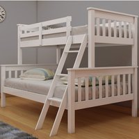 Product photograph showing Dux Wooden Single And Double Bunk Bed In White