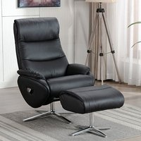 Earl Leather Match Swivel Recliner Chair And Footstool In Black