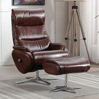 Earl Leather Match Swivel Recliner Chair And Footstool In Brown