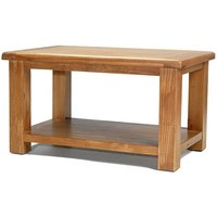 Earls Wooden Coffee Table In Chunky Solid Oak With Shelf