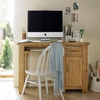 Earls Wooden Single Computer Desk In Chunky Solid Oak