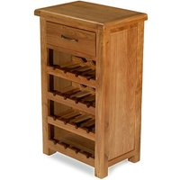 Product photograph showing Earls Wooden Small Wine Rack In Chunky Solid Oak With 1 Drawer