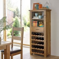 Product photograph showing Earls Wooden Tall Wine Rack In Chunky Solid Oak With 1 Drawer