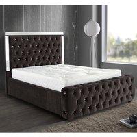 Eastcote Plush Velvet Mirrored Single Bed In Brown