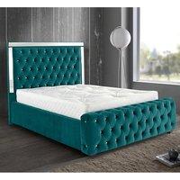Eastcote Plush Velvet Mirrored Single Bed In Green