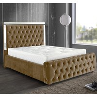 Eastcote Plush Velvet Mirrored Single Bed In Mink