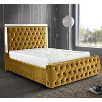 Eastcote Plush Velvet Mirrored Single Bed In Mustard