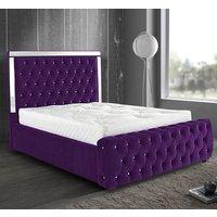 Eastcote Plush Velvet Mirrored Single Bed In Purple