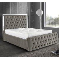 Eastcote Plush Velvet Mirrored Single Bed In Silver