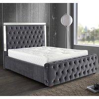 Eastcote Plush Velvet Mirrored Single Bed In Steel