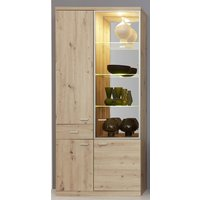Product photograph showing Echo Large Led Display Cabinet In Artisan Oak With 4 Doors