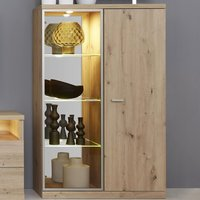Product photograph showing Echo Led Display Cabinet In Artisan Oak With 2 Doors