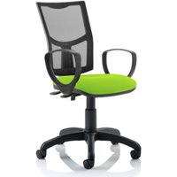 Product photograph showing Eclipse Ii Mesh Back Office Chair In Green With Loop Arms