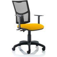 Product photograph showing Eclipse Ii Mesh Back Office Chair In Yellow And Adjustable Arms