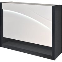 Product photograph showing Eclypse Wooden Bar Cabinet In Dark Grey And White High Gloss