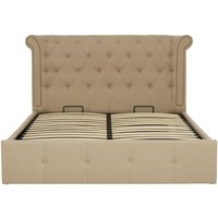 Product photograph showing Cujam Fabric King Size Bed In Beige Hopsack Velvet