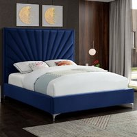 Product photograph showing Einod Plush Velvet Upholstered Small Double Bed In Blue