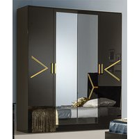 Product photograph showing Elegance Wardrobe In Black High Gloss And Gold With 4 Doors