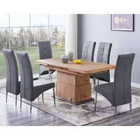 Product photograph showing Elgin Convertible Sonoma Oak Dining Table With 6 Vesta Grey Chairs
