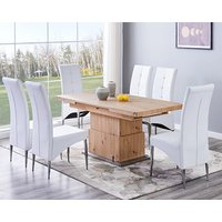 Product photograph showing Elgin Convertible Sonoma Oak Dining Table With 6 Vesta White Chairs