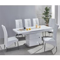 Product photograph showing Elgin Convertible White Gloss Dining Table With 6 White Chairs