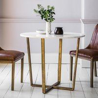 Eliana Round Marble Dining Table In White With Gold Metal Legs