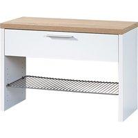 Elina Shoe Storage Bench In White And Sonoma Oak