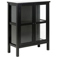 Product photograph showing Elkhart Wooden 2 Glass Doors Display Cabinet In Black